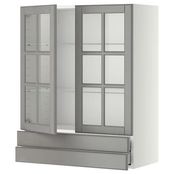 METOD / MAXIMERA Wall cab w 2 glass doors/2 drawers, white/Bodbyn grey, 80x100 cm