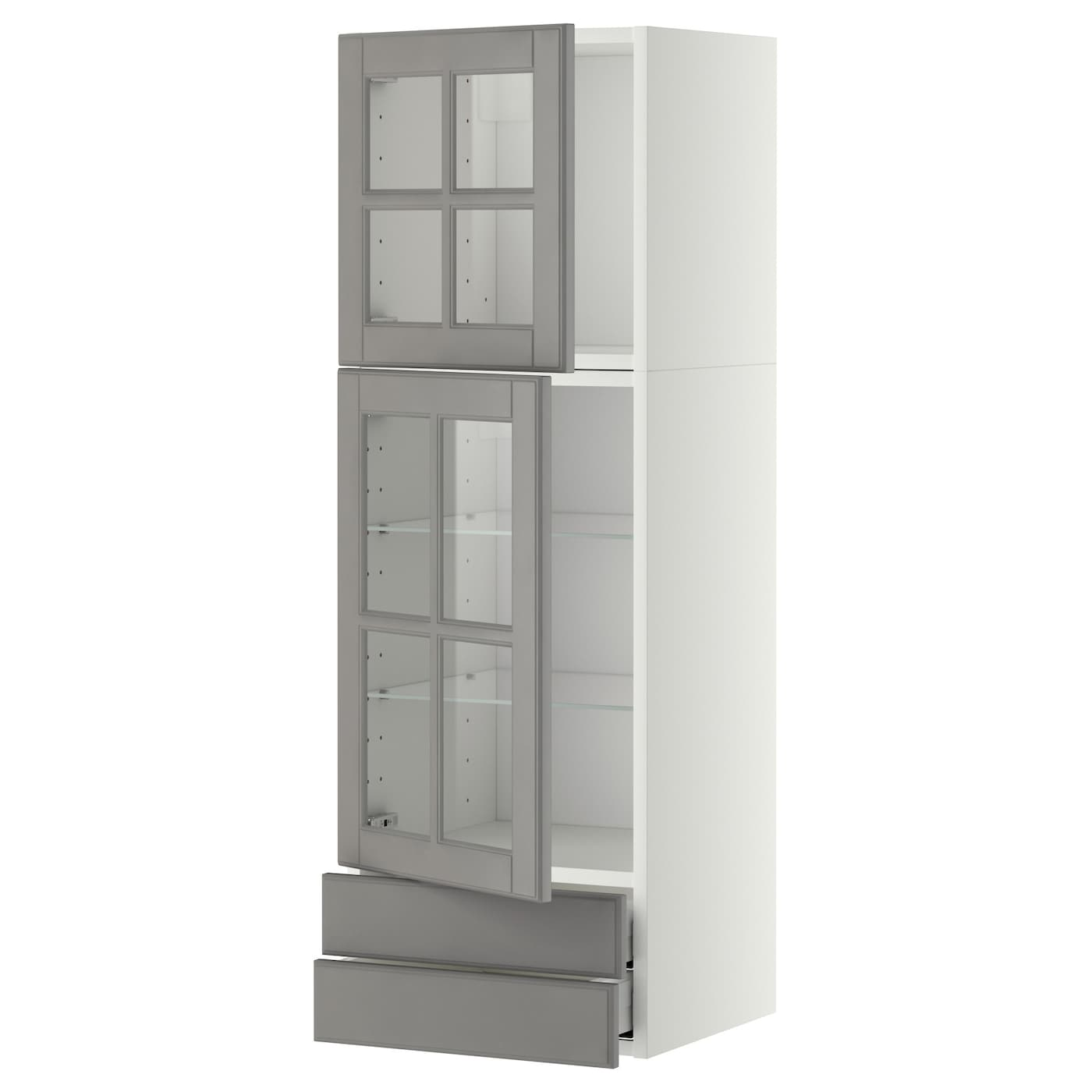 metod maximera wall cab w 2 glass doors 2 drawers white bodbyn grey 40x120 cm ikea. Black Bedroom Furniture Sets. Home Design Ideas