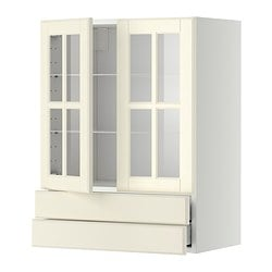 IKEA METOD/MAXIMERA Wall Cab W 2 Glass Doors/2 Drawers Sturdy Frame  Construction