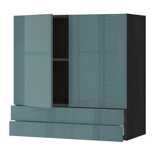 Metod Maximera Wall Cabinet W 2 Doors 2 Drawers Black Kallarp Grey