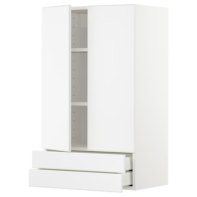 METOD / MAXIMERA Wall cabinet w 2 doors/2 drawers, white/Kungsbacka matt white, 60x100 cm