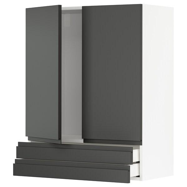 METOD / MAXIMERA Wall cabinet w 2 doors/2 drawers, white/Voxtorp dark grey, 80x100 cm
