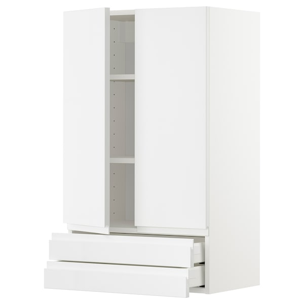 METOD / MAXIMERA Wall cabinet w 2 doors/2 drawers, white/Voxtorp high-gloss/white, 60x100 cm