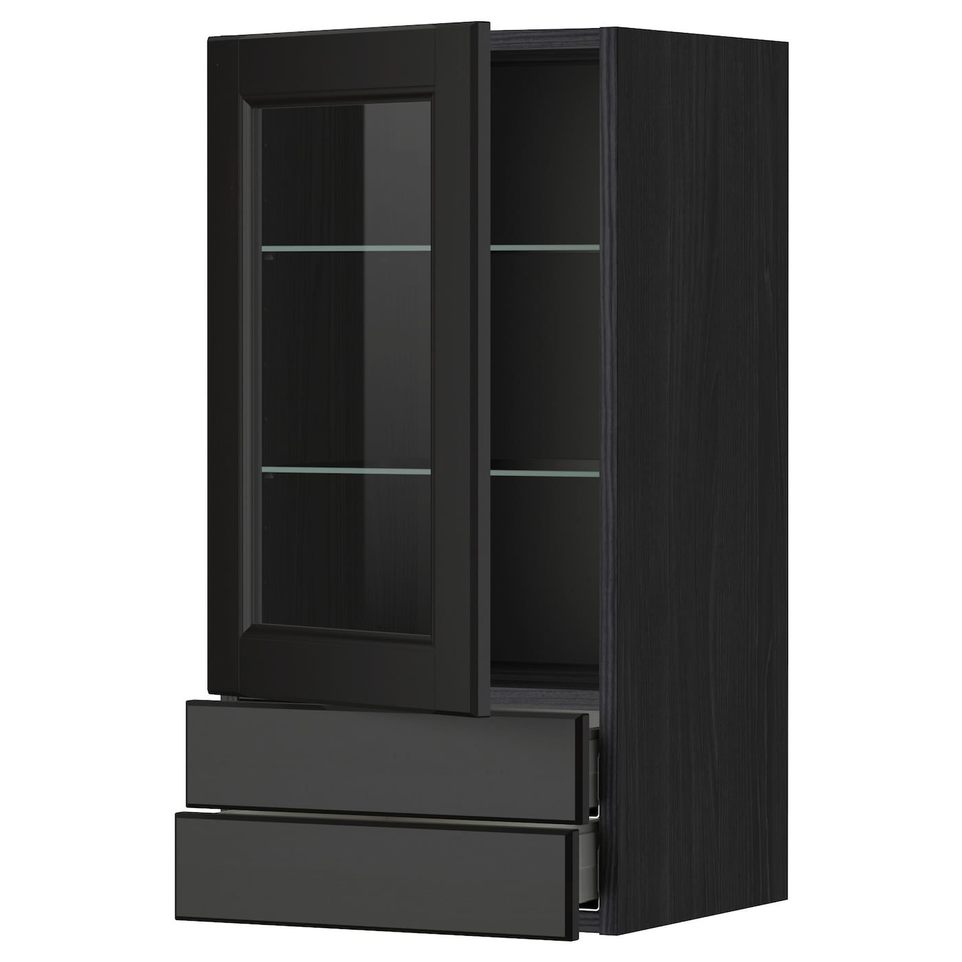 Metod maximera wall cabinet w glass door 2 drawers black for Ikea glass door wall cabinet