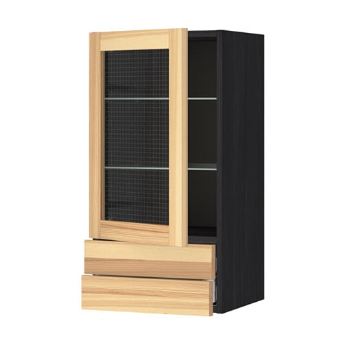Ikea Vitrine Murale En Verre ~   Wall cabinet w glass door 2 drawers Black torhamn ash 40×80 cm  IKEA