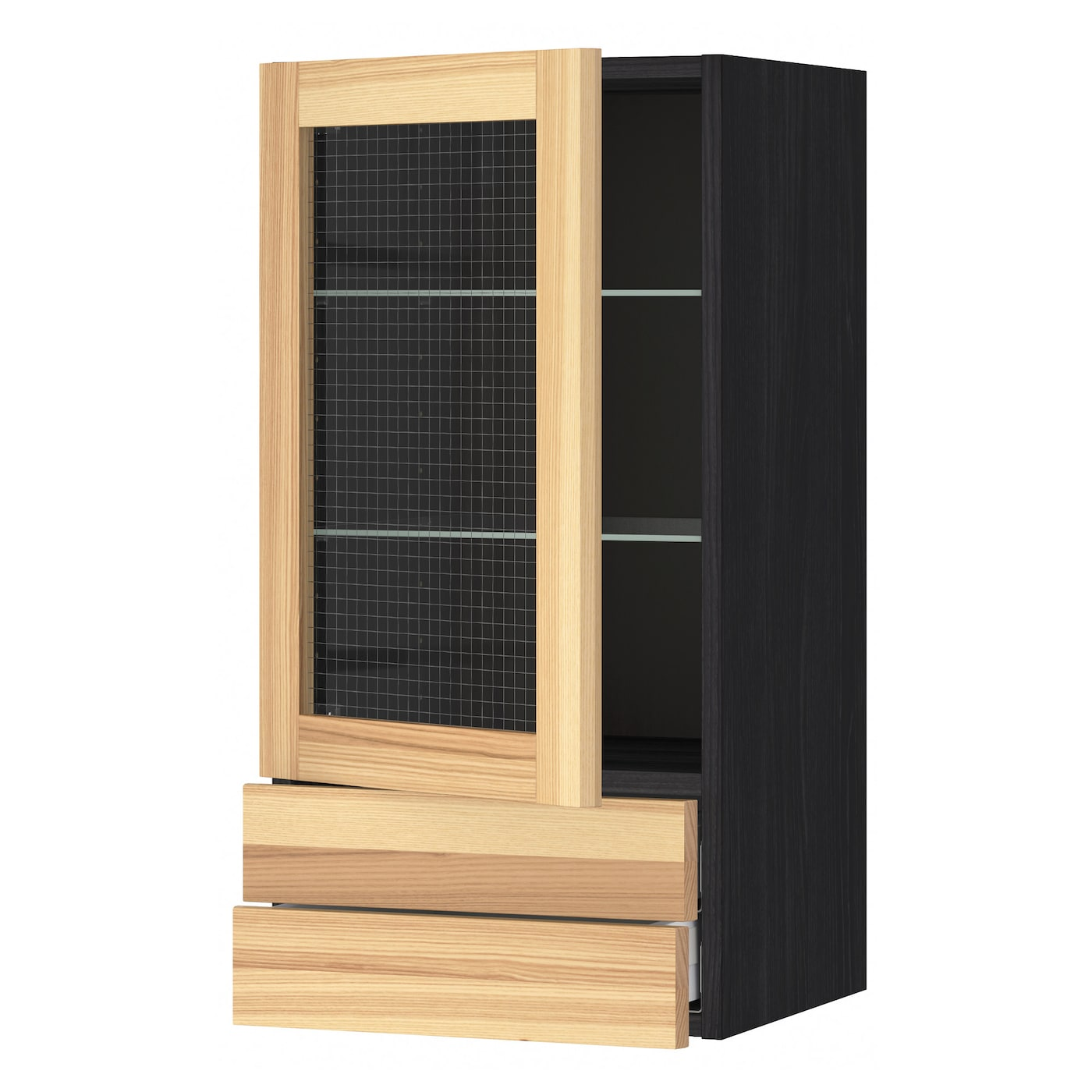 IKEA METOD/MAXIMERA wall cabinet w glass door/2 drawers Sturdy frame construction, 18 mm thick.