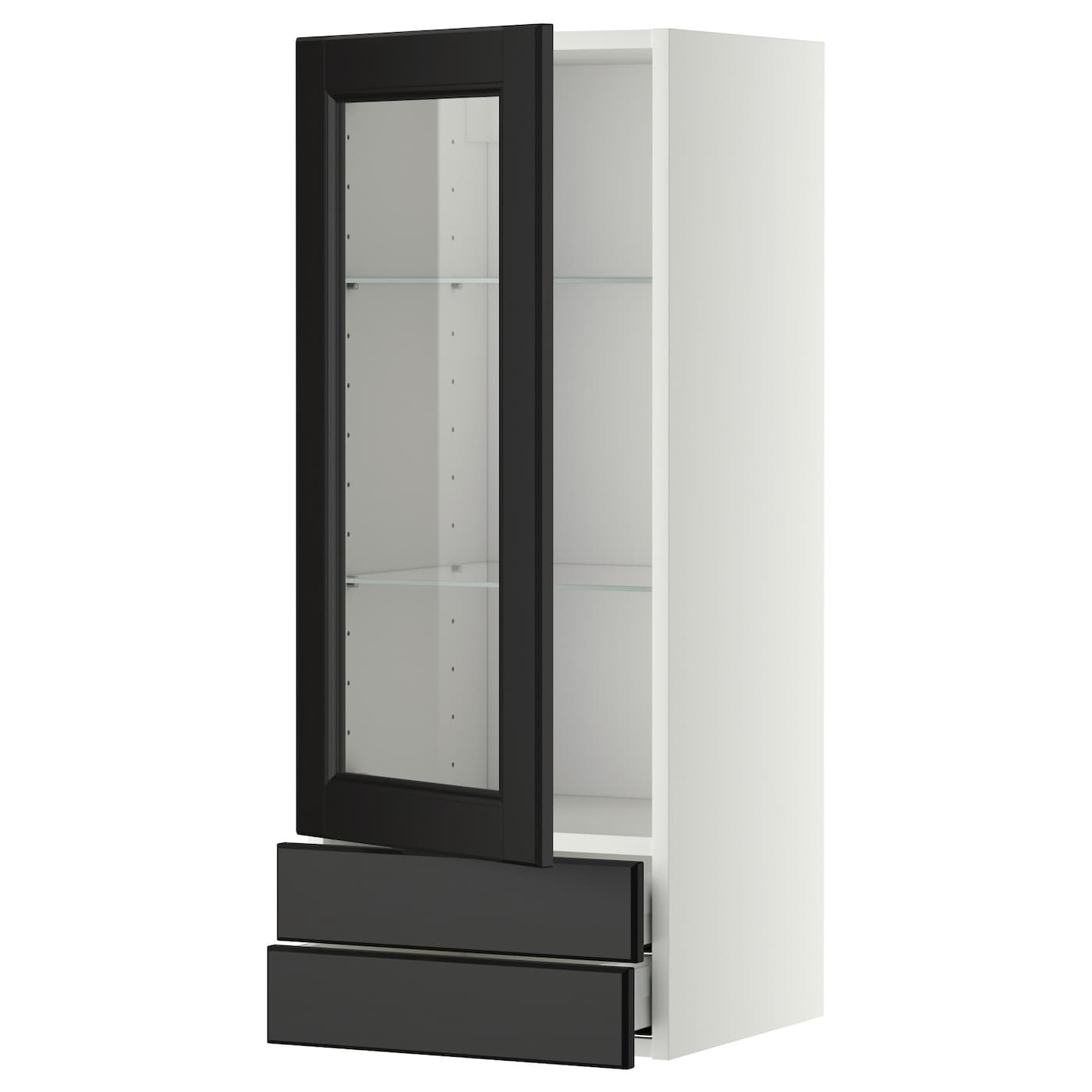 kitchen cabinets w glass doors metod maximera wall cabinet w glass door 2 drawers white 21352