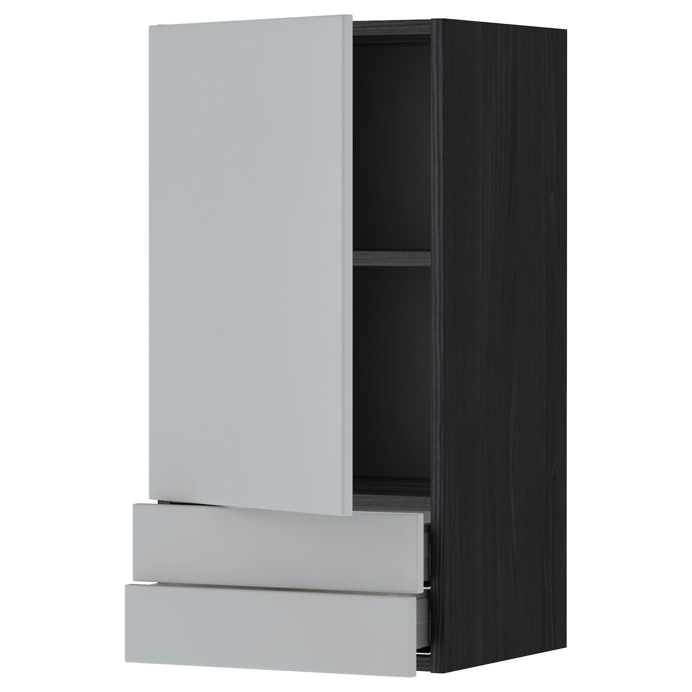 metod maximera wall cabinet with door 2 drawers black veddinge grey 40 x 80 cm ikea. Black Bedroom Furniture Sets. Home Design Ideas