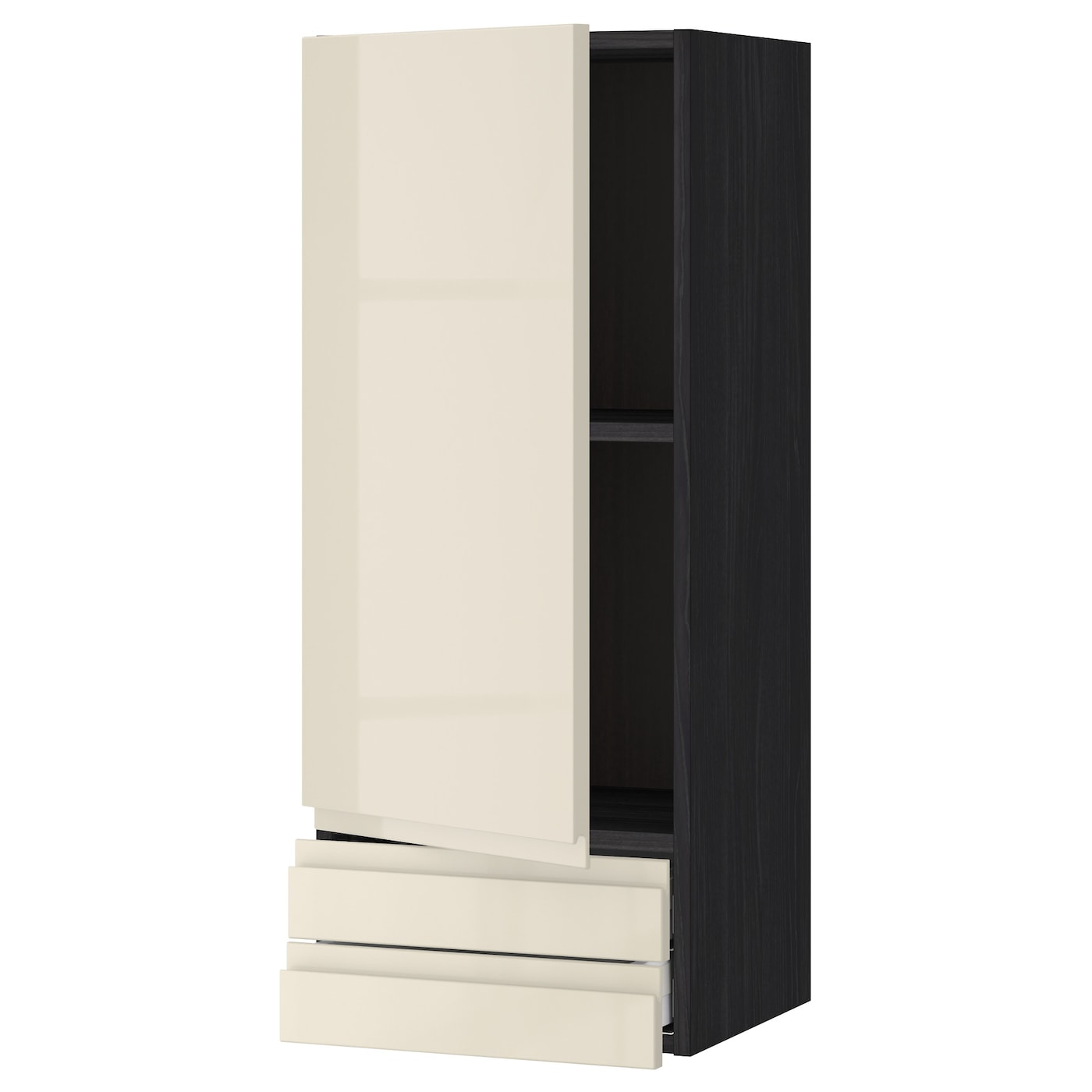 Metod Wall Cabinet With 2 Doors White Voxtorp High Gloss: METOD/MAXIMERA Wall Cabinet With Door/2 Drawers Black