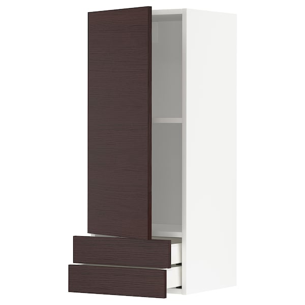 METOD / MAXIMERA Wall cabinet with door/2 drawers, white Askersund/dark brown ash effect, 40x100 cm