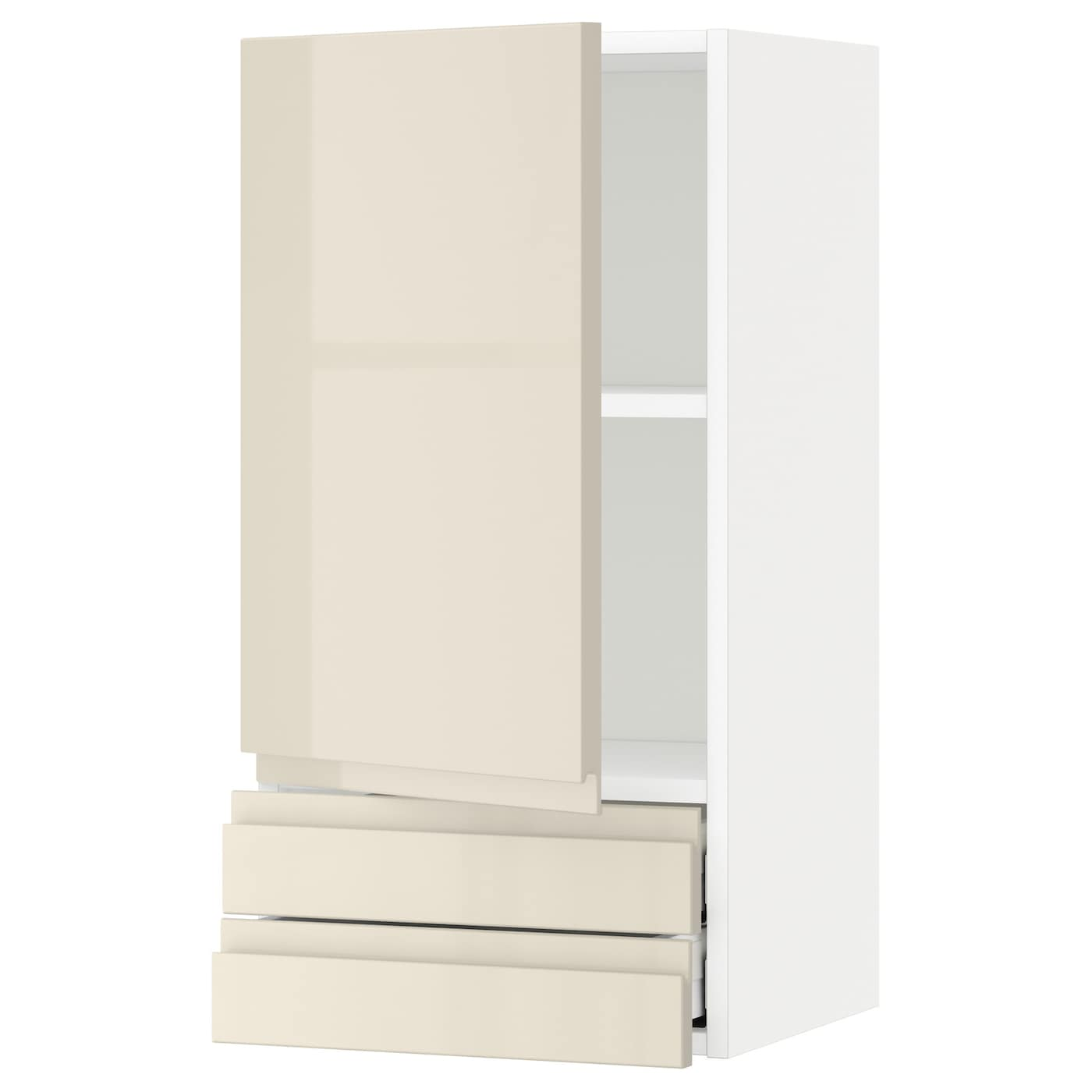 Metod maximera wall cabinet with door 2 drawers white for White gloss kitchen wall cupboards