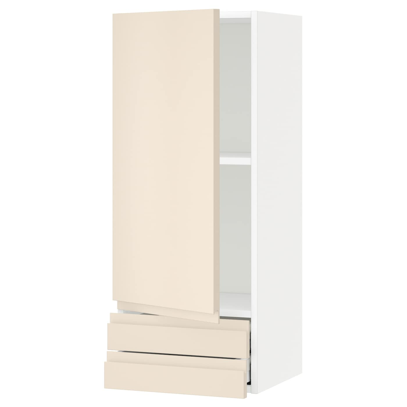 Metod Wall Cabinet With 2 Doors White Voxtorp High Gloss: METOD/MAXIMERA Wall Cabinet With Door/2 Drawers White