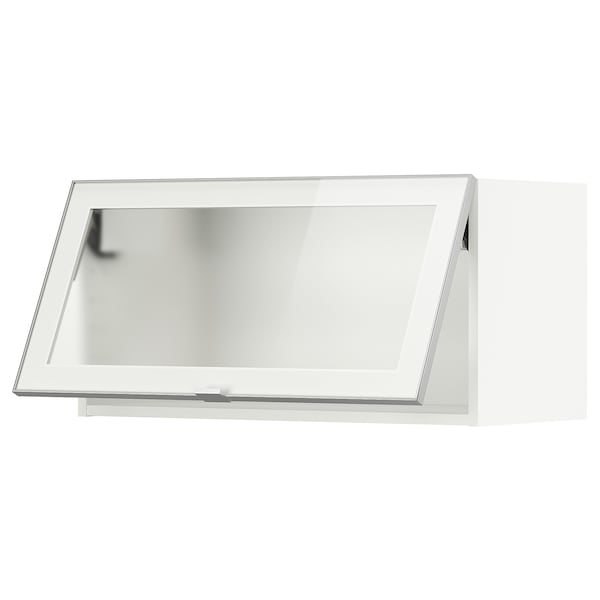 METOD Wall cab horiz gls door w push-open, white/Jutis frosted glass, 80x40 cm