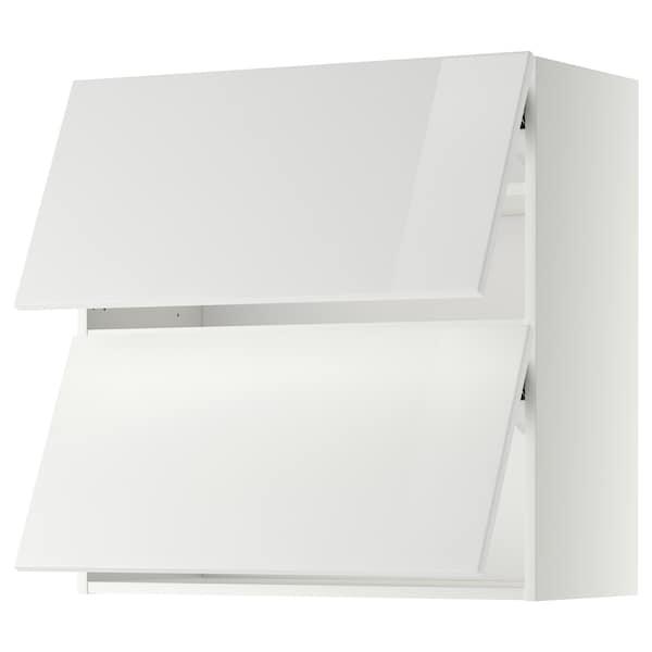 METOD Wall cab horizo 2 doors w push-open, white/Ringhult white, 80x80 cm
