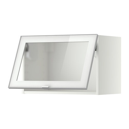 Metod wall cab horizontal w glass door white jutis frosted for Meuble mural bureau ikea