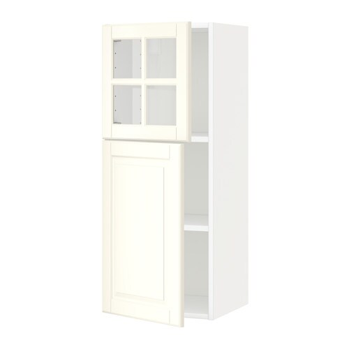 IKEA METOD wall cab w shelves/door/glass door Sturdy frame construction, 18 mm thick.