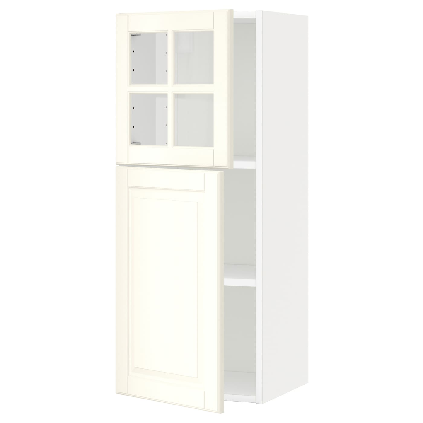 Metod wall cab w shelves door glass door white bodbyn off for Off the shelf cabinets