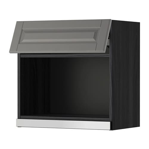 Metod wall cabinet for microwave oven black bodbyn grey for Microwave table ikea