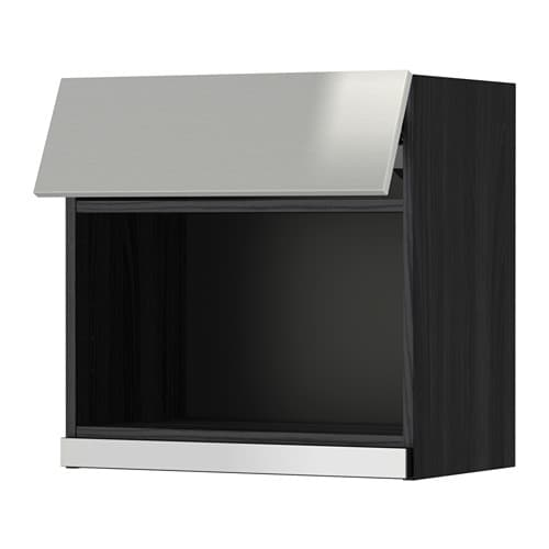 Stainless Steel Kitchen Cabinets With Oven: METOD Wall Cabinet For Microwave Oven Black/grevsta