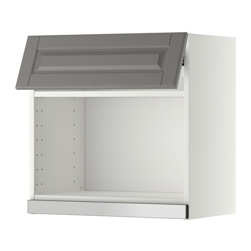 Metod wall cabinet for microwave oven white bodbyn grey for Meuble mural micro onde ikea