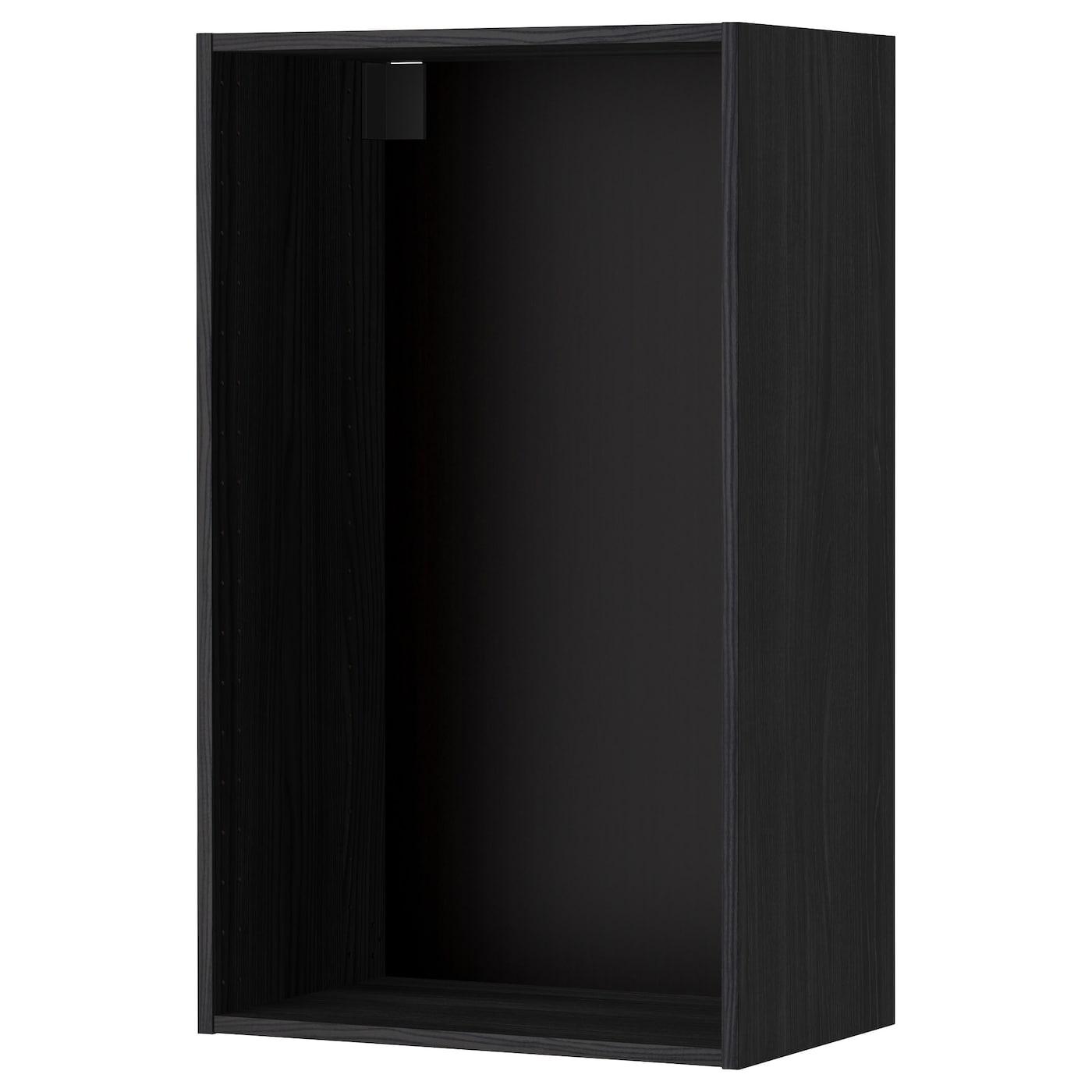 Metod Wall Cabinet Frame Wood Effect Black 60 X 37 X 100