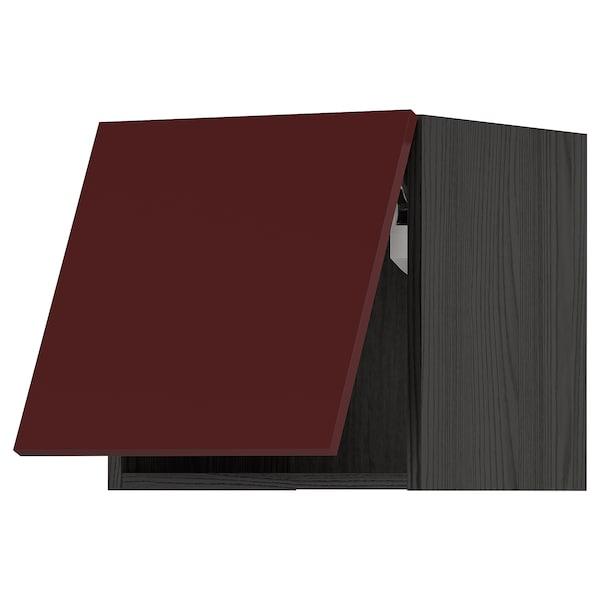METOD Wall cabinet horizontal w push-open, black Kallarp/high-gloss dark red-brown, 40x40 cm
