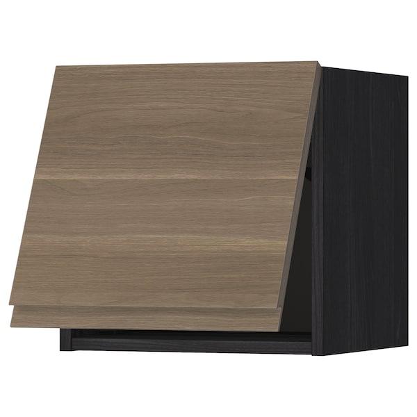 METOD Wall cabinet horizontal w push-open, black/Voxtorp walnut effect, 40x40 cm