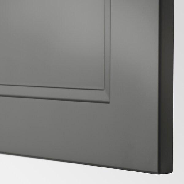 METOD Wall cabinet horizontal w push-open, white/Axstad dark grey, 40x40 cm