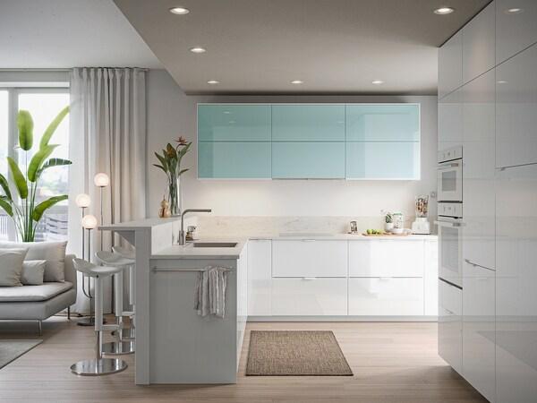 METOD Wall cabinet horizontal w push-open, white Järsta/high-gloss light turquoise, 80x40 cm