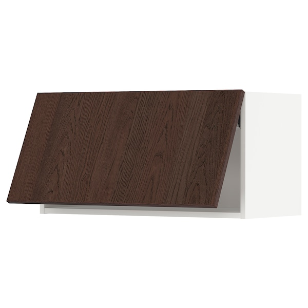 METOD Wall cabinet horizontal w push-open, white/Sinarp brown, 80x40 cm