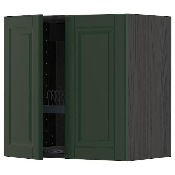 METOD Wall cabinet w dish drainer/2 doors, black/Bodbyn dark green, 60x60 cm