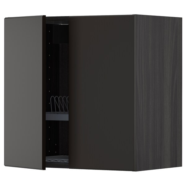 METOD Wall cabinet w dish drainer/2 doors, black/Kungsbacka anthracite, 60x60 cm