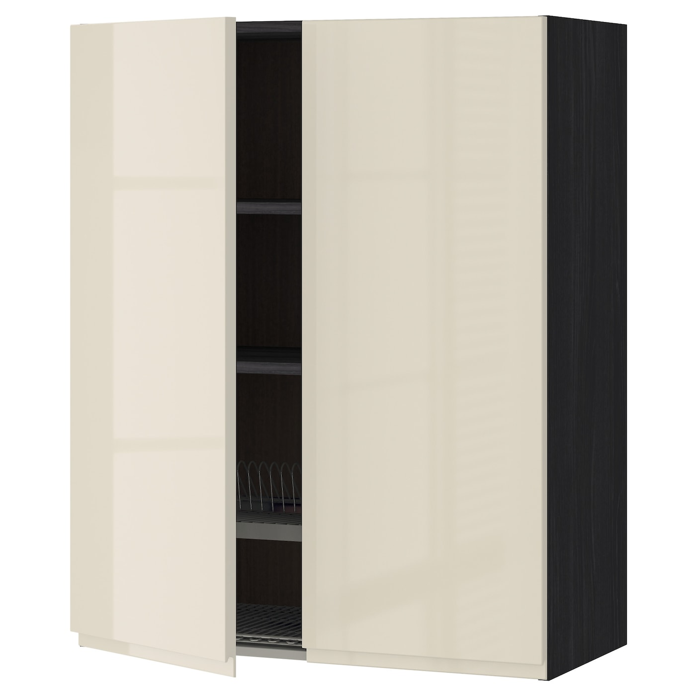 IKEA METOD wall cabinet w dish drainer/2 doors Sturdy frame construction, 18 mm thick.