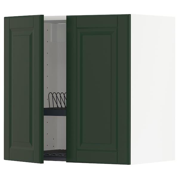 METOD Wall cabinet w dish drainer/2 doors, white/Bodbyn dark green, 60x60 cm