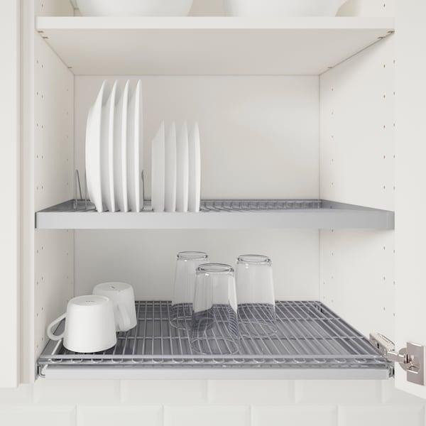 METOD Wall cabinet w dish drainer/2 doors, white/Voxtorp walnut effect, 60x60 cm