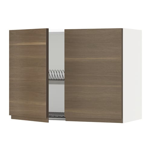 Walnut Mixed Material Ikea Kitchen: METOD Wall Cabinet W Dish Drainer/2 Doors White/voxtorp