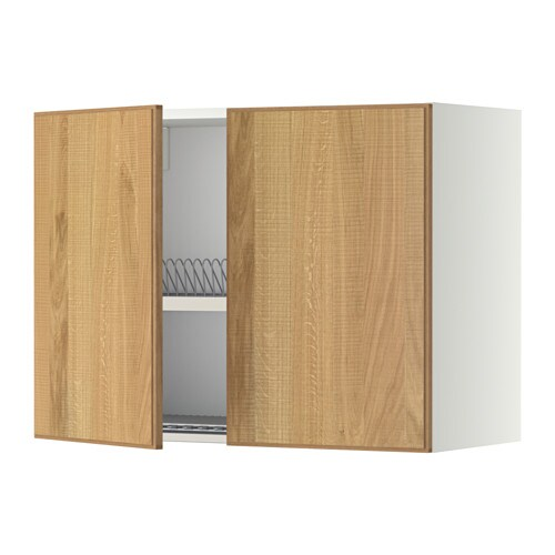 Metod wall cabinet w dish drainer 2 doors white hyttan for Oak effect kitchen wall units