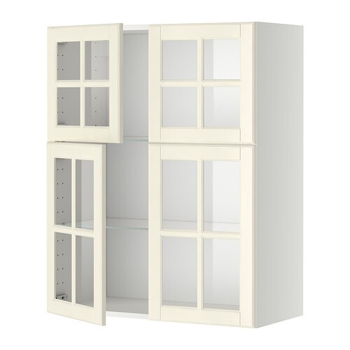 Ikea kitchens bodbyn white and laxarby black brown - Metod Wall Cabinet W Shelves 4 Glass Drs White Bodbyn