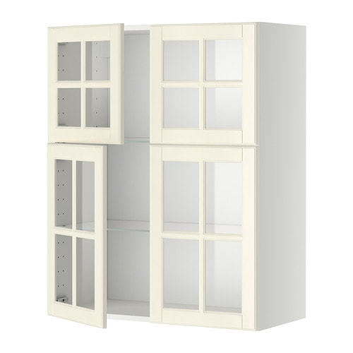 Metod wall cabinet w shelves 4 glass drs white bodbyn for Off the shelf cabinets