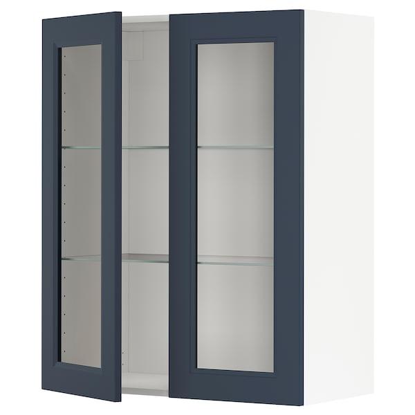 METOD Wall cabinet w shelves/2 glass drs, white Axstad/matt blue, 80x100 cm