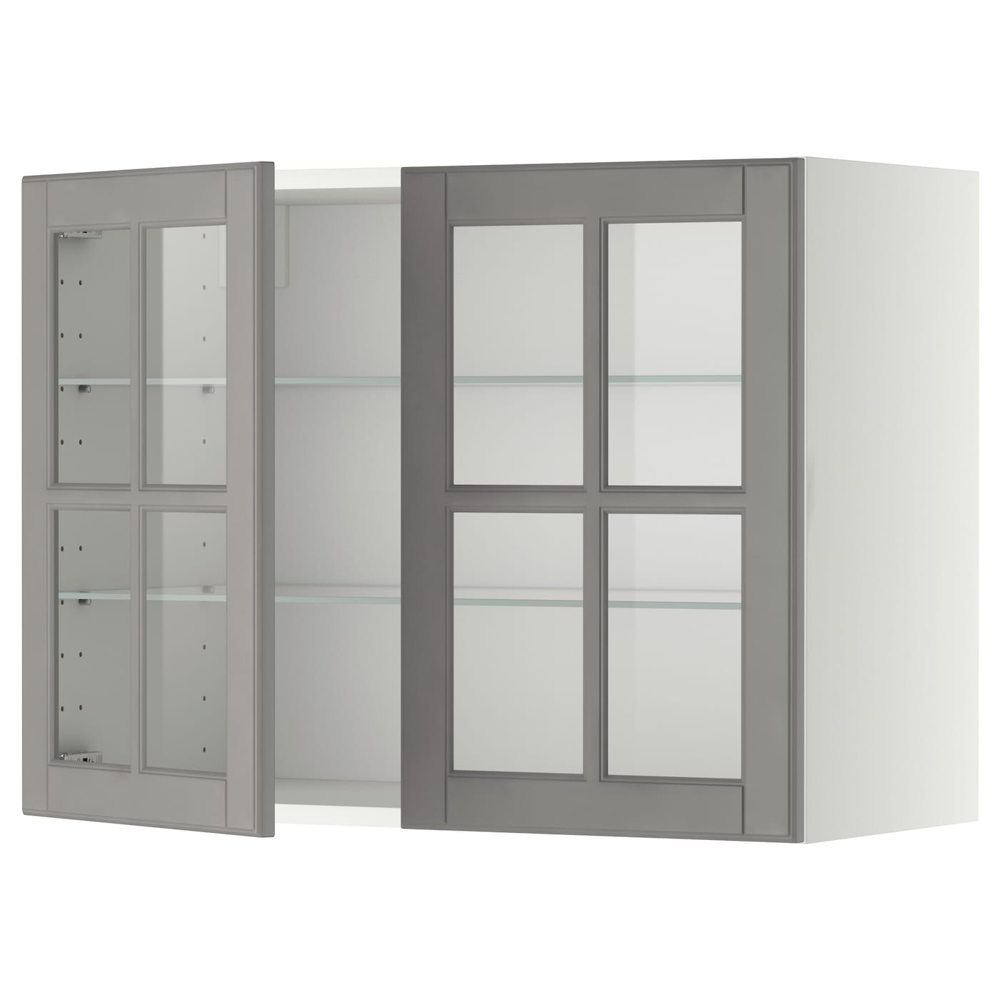 glass shelves for kitchen cabinets metod wall cabinet w shelves 2 glass drs white bodbyn grey 6850