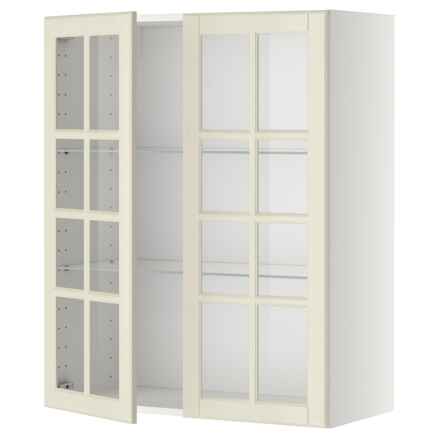 IKEA METOD wall cabinet w shelves/2 glass drs Sturdy frame construction, 18 mm thick.