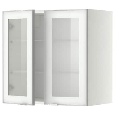 METOD Wall cabinet w shelves/2 glass drs, white/Jutis frosted glass, 60x60 cm