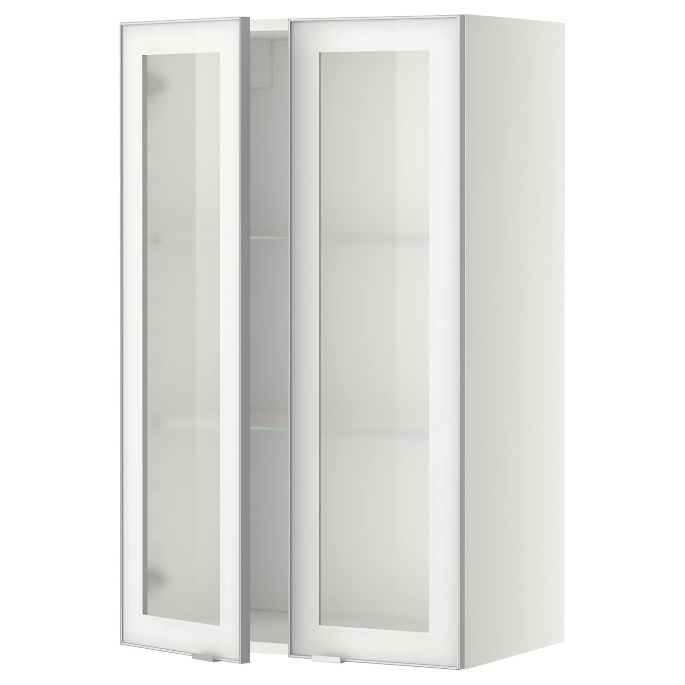 Metod wall cabinet w shelves 2 glass drs white jutis for White kitchen cabinets with frosted glass
