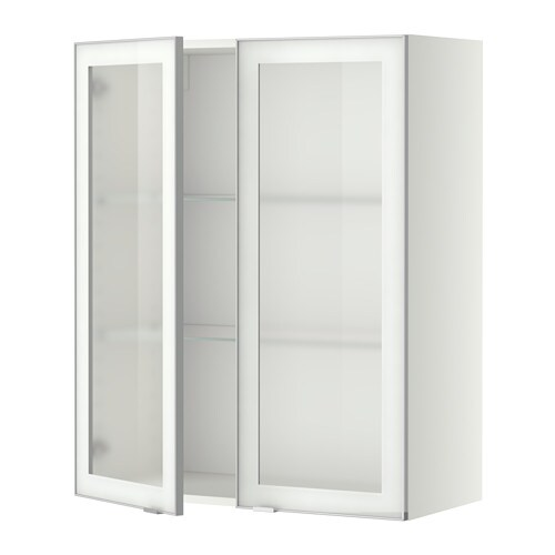 Metod wall cabinet w shelves 2 glass drs white jutis for Glass kitchen wall units