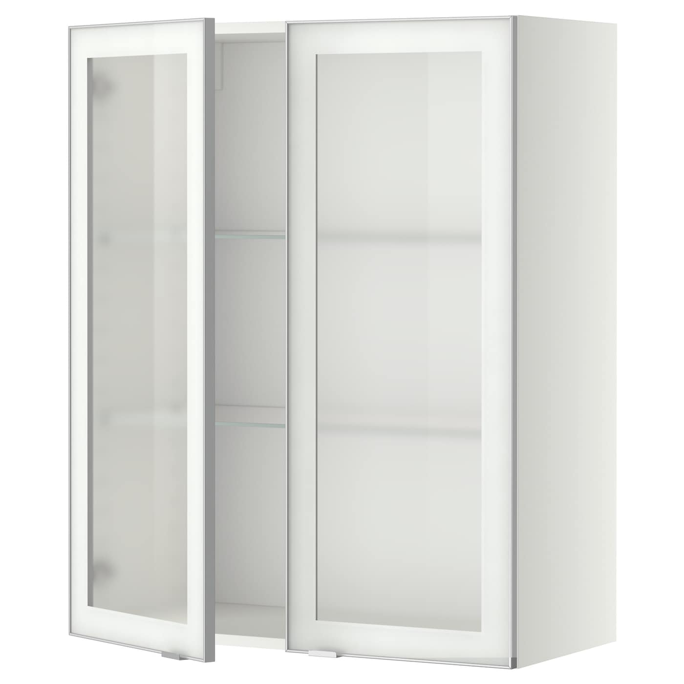 Metod wall cabinet w shelves 2 glass drs white jutis for Kitchen cabinets ikea