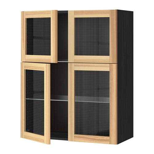 Metod Wall Cabinet W Shelves 4 Glass Drs Black Torhamn Ash