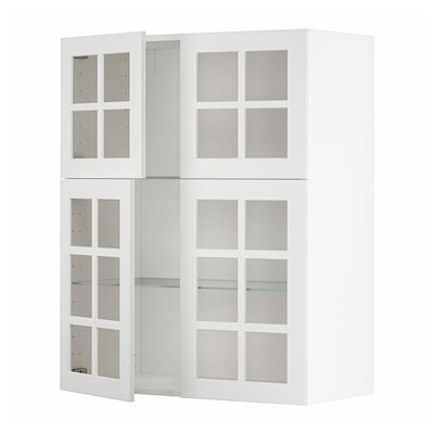 METOD Wall cabinet w shelves/4 glass drs, white/Stensund white, 80x100 cm