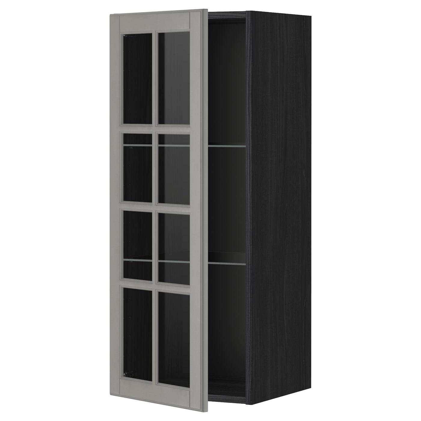 Ikea Kitchen Glass Cabinets: METOD Wall Cabinet W Shelves/glass Door Black/bodbyn Grey