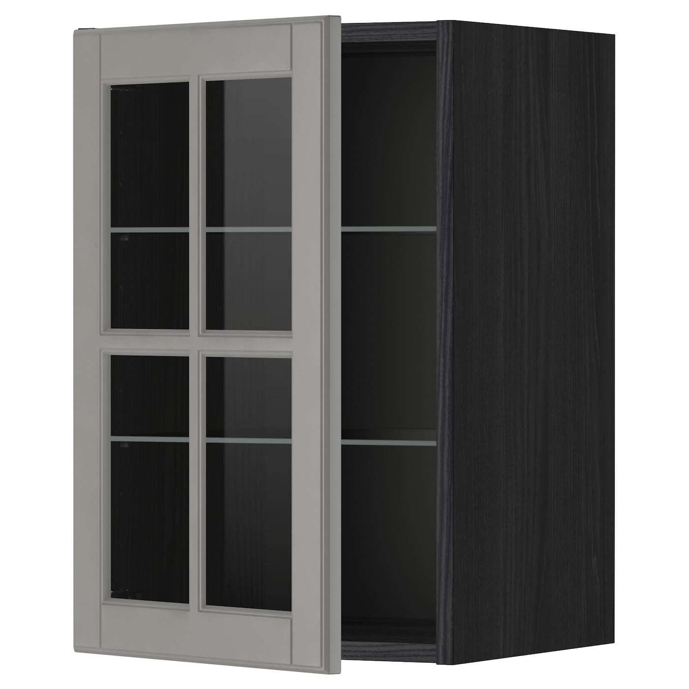 metod wall cabinet w shelves/glass door black/bodbyn grey 40x60 cm